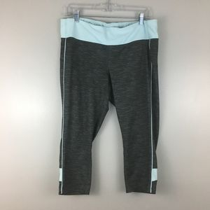 Xersion Gray and Blue Fitted Active Capris